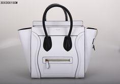 SAC CELINE LUGGAGE MINI BLANC / NOIR BORD NOIR 1.Marque  : celine 2.Style  : celine Luggage 3.couleurs :Blanc / Noir 4.Matériel : Les importations de cuir 5.Taille: W30 x H30 x D15 cm Boston Bag, Celine Luggage, Tote Handbags, Color Mixing, Mini, Clutches, Totes, Leather, Woman