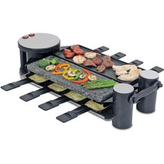Cook and entertain in style at your next party with the Swissmar swivel electric raclette eight person party grill. Constructed of durable cast aluminum on one side and hot stone on the other, this grill allows you to cook right on the table with your guests.