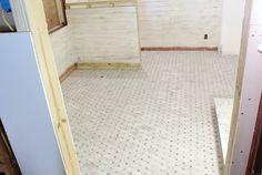 Great details regarding the use of Carrara Honed Long Octagon Gray Dot Marble Tile Marble Floor, Tile Floor, Carrara Marble, Mosaic Tile Designs, Mosaic Tiles, Floor Design, Basket Weaving, Sweet Home, Dots