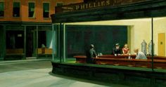 Edward Hopper, Nighthawks 1942. Empty space, analogous colors, americana, night time, lonely, geometric, dark, roundness?