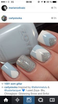 Baby blue white and silver