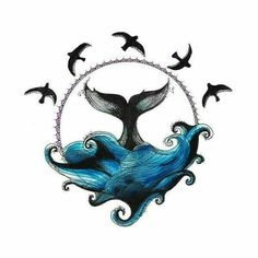 Circle Drawing - Whale and Waves - Ellen McCrimmon Smal Tattoo, Tatoo Art, Et Wallpaper, Circle Drawing, Whale Art, Symbol Tattoos, Whale Tattoos, Desenho Tattoo, Ocean Art