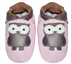 Skinntøfler til barn med ugler | baby leather shoes with owl for kids