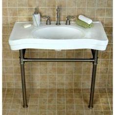 Imperial Vintage Satin Nickel Pedestal Center Bathroom Sink