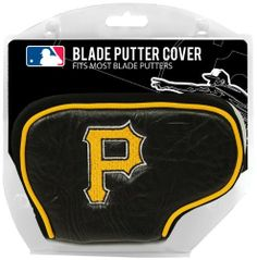 MLB Pittsburgh Pirates Blade Putter Cover, Black by Team Golf. $22.83. Easily slips on and off the putter. Made with Buffalo Vinyl and Polyester Knit. 85% vinyl/10% acrylic nylon/5% pvc. Officially licensed product. 2 location embroidery includes both logo and wordmark. Fits most blade putters. This cover fits virtually all blade putters and includes 2 location embroidery and fleece lining for extra club protection.  Made of buffalo vinyl and synthetic suede li...