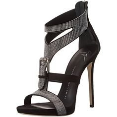 Giuseppe Zanotti Women's Silver Pave Buckle Dress Sandal ($375) ❤ liked on Polyvore featuring shoes, sandals, heels, heeled sandals, giuseppe zanotti, silver sandals, dress sandals and dress sandals shoes