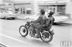 A San Berdoo Hells Angel and his lady on the road, 1965.