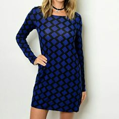 *Final Price* Royal blue patterned dress Long sleeve round neck printed dress Chupchick  Dresses Midi
