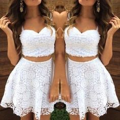 Homecoming Prom Dress,Short Prom Dress,Lace Prom Dress,Two Pieces Prom Dress Elegant Women Dress,PD160480