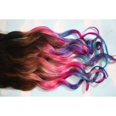 Ombre Dip Dyed Hair, Clip In Hair Extensions, Tie Dye Tips, Brunette... ($85) ❤ liked on Polyvore featuring hair