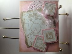 Postage Due with a vintage feel. Pink Pirouette and Crumb Cake.