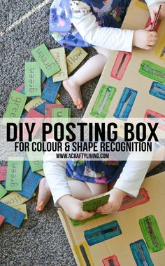 DIY Posting Box working on Colour & Shape Recognition for Toddlers &… Teaching Activities, Color Activities, Creative Activities, Infant Activities, Activities For Kids, Toddler Fun, Toddler Preschool, Recycled Crafts Kids, Crafts For Kids
