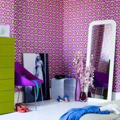 Purple bedroom wallpaper design for teenager Retro Bedrooms, Purple Bedrooms, Teenage Girl Bedrooms, Modern Bedroom, Girls Bedroom, Bedroom Decor, Bedroom Ideas, Teen Rooms, Bedroom Green