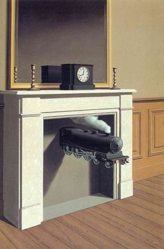 """Rene Magritte: """"Time Transfixed"""", 1938 in Brussels, Belgium.  Style: Surrealism.  Technique: Oil on canvas."""