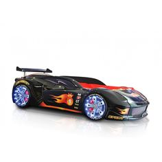 The LAMBORGHINI is a stunning race car bed designed to look like a real life Lamborghini! Made from the highest quality non-toxic moulded plastic and finished with real working L.E.D headlights, LED kits for wheels, real car sounds and a remote control. This really is the race car of any child's dreams.