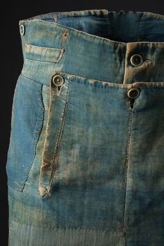 Men's work pants, denim and brushed cotton, circa 1840, USA