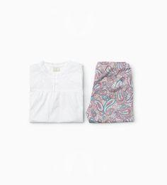 Zdjęcie 1 Piżama z popeliny z nadrukiem z Zara