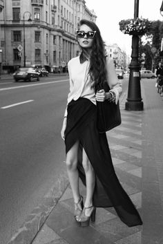 Black skirt, White Shirt, Cats Eyes #Sunglasses