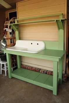 potting bench with sink | My new potting bench that my boyfriend made me for Christmas.