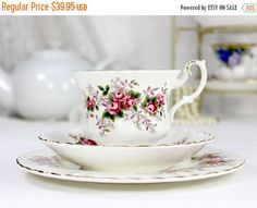 c1961 Royal Albert Lavender Rose Bone China Teacup & Saucer