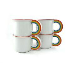 1978 Vandor rainbow mugs set of 4 by reconstitutions on Etsy, $36.50 #vintage #rainbow