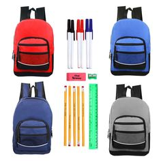 409ee821ff31 Moda West Bulk Case of 24 Backpacks and 24 Kits - Wholesale Kids Sport  Backpacks in 4 Assorted Colors with School Supply Kit