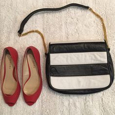 """Vegan leather Shoulder bag Aprox: 8"""" x 10"""" depth: 3"""" shoulder strap drop; 13"""". Soft vegan leather. Gold toned hardware. Two compartments inside. Gently worn in good condition. Bags Shoulder Bags"""