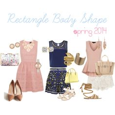 """""""Rectangle Body Shape Spring 2014"""" by lorraine-andrade-marques on Polyvore"""