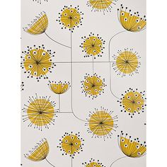 Welcome to Wallpaper Wednesday where today we are featuring the wonderful MissPrint Dandelion Mobile. Let us know what you think of this contemporary design Design Floral, Motif Floral, Pattern Art, Pattern Design, Yellow Pattern, Textile Patterns, Textiles, Dandelion Wallpaper, Botanical Wallpaper