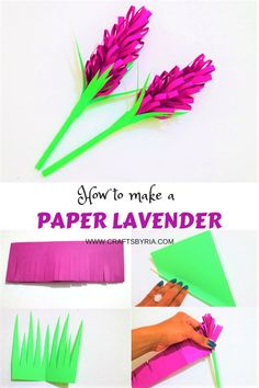 How to make a beautiful paper lavender. Easy spring craft for kids and adults. Perfect for kindergarteners,  elementary school kids, teens and tweens. #paperflower #springcrafts