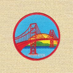 Sunset San Francisco Bridge America Embroidered by Interpatch