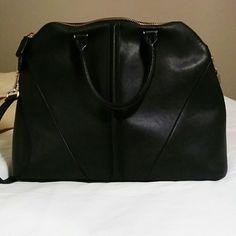 "Zara city bag with shoulder straps Black, 100% polyurethane exterior, 100% cotton lining, 15""  x 6""  x 12"", strap for shoulder or crossbody, gold detail Zara Bags Shoulder Bags"