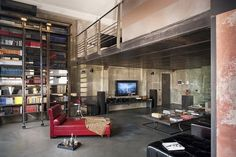 LOVE THIS modern loft living space in Milano Italy! Very trendy yet has a true loft feeling > Loft Estilo Industrial, Industrial Apartment, Industrial Interiors, Industrial Living, Industrial Style, Industrial Design, Urban Industrial, Industrial Lamps, Modern Interiors
