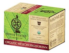 White Coffee Organic Single Serve Coffee, Mexican High Grown, 10 Count (Pack of 4)