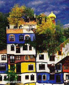 This is the roof garden at Hundertwasserhaus, Vienna designed by the artist and architect Hundertwasser (1928-2000). More at www.naturalhomes.org/roof-garden.htm