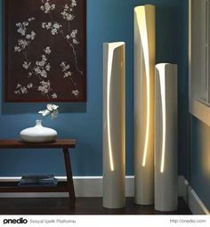 Pipe DIY Projects - 5 Things You Can Make - Bob Vila For this PVC DIY, all you need is a jigsaw and a lamp kit.For this PVC DIY, all you need is a jigsaw and a lamp kit. Diy Deco Rangement, Pipe Diy Projects, Garden Projects, Diy Luminaire, Diy Floor Lamp, Pipe Lamp, Diy Flooring, Flooring Ideas, Solar Lights