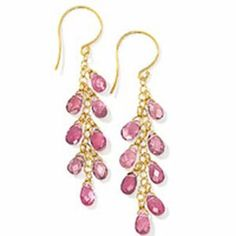 Amazon.com: 14k Solid Gold Pink Tourmaline Briolette Earrings ...