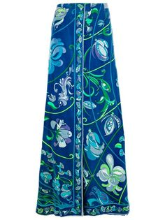 Emilio Pucci Vintage open front skirt from A.N.G.E.L.O. :)  Blue cotton skirt from Emilio Pucci Vintage featuring a high waist, a front slit opening and an all over bright floral print.