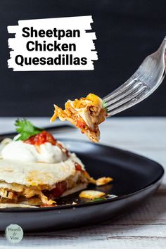 This sheet pan chicken quesadilla recipe makes one huge quesadilla so that you can serve it as an appetizer for a party or a lunch for several people. Appetizer Recipes, Appetizers, Quesadilla Recipes, Chicken Quesadillas, Sheet Pan, Dips, Food, Springform Pan, Sauces