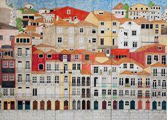 Ceramic tile painting in three panels 100 x Virginia Arregui Tile Painting, Australian Artists, Local Artists, Virginia, Ceramics, Sea, City, Gallery, Hall Pottery