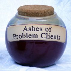 Ashes of Problem Clients, Glazed Ceramic Jar with Cork Cover
