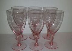SET OF ( 6) PINK DEPRESSION GLASS WINE/WATER/JUICE GLASSES in Pottery & Glass, Glass, Glassware | eBay