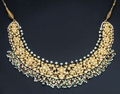 A MODERN DIAMOND AND ENAMEL NECKLACE Designed as openwork diamond-set foliate cluster panels suspending a seed pearl fringe to the polychrome enamelled reverse depicting floral motifs, Jaipur, contemporary, long Royal Jewelry, India Jewelry, Pearl Jewelry, Antique Jewelry, Gold Jewelry, Jewelery, Fine Jewelry, Indian Necklace, Modern Jewelry