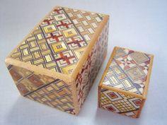 Japanese Puzzle box (Himitsu bako)- The Nested box-3.0inch 5steps and 1.7inch 4steps Yosegi
