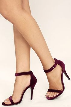 When it comes to occasions, the Time to Party Burgundy Velvet Ankle Strap Heels make getting dressed a snap! Soft velvet glides over a minimal open-toe upper with adjustable ankle strap. Gold buckle.