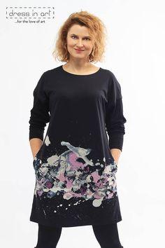 Black cotton dress long sleeves dress black tunic painted