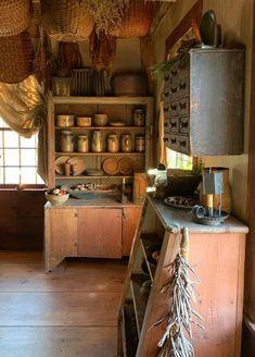 Antique Kitchen Cabinets, Antique Cupboard, Rustic Cabinets, Kitchen Cabinet Design, Cupboards, Kitchen Art, Kitchen Storage, Vintage Kitchen, Kitchen Ideas