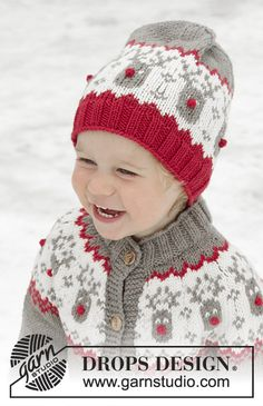 Run run rudolph hat / DROPS children - free knitting patterns by DROPS design Run Run Rudolph Hat / DROPS Children - Knitted hat for children in DROPS Merino Extra Fine with a Nordic pattern. Baby Knitting Patterns, Christmas Knitting Patterns, Knitting For Kids, Baby Patterns, Free Knitting, Crochet Patterns, Drops Design, Fair Isle Knitting, Knitted Hats