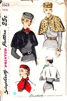 Simplicity 3323 1950s Pillbox Hat Sewing Pattern Scarf Belt Size Large. $40.00, via Etsy.