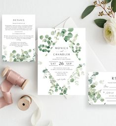 Eucalyptus Wedding Invitation Template Printable I Wedding Favor Printables, Floral Printables, Floral Invitation, Wedding Invitation Templates, Printable Invitations, Wedding Invitations, Invites, Invitation Suite, Wedding Stationery